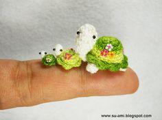 Flowery Turtle Family  Micro Amigurumi Crochet Tortoises  by SuAmi