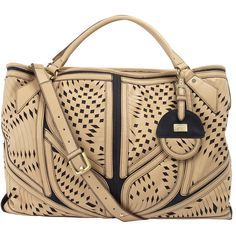 Fiorelli cream laser cut bag (€105) found on Polyvore