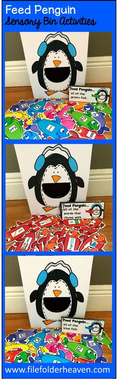"These Penguin Sensory Bin Activities: ""Feed Penguin"" are a GREAT addition to your penguin or winter themed sensory bins! There are so many ways to use this Feed Penguin Set. I have left it very open ended so that you can target the skills you need to target in a small group setting. I have also included instruction cards for each set so that you can set the activity up as an independent center, and/or sensory bin activity."