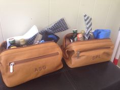Groomsmen gift: leather dop bag filled with ties, liquor, cigar and printed socks!