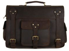 Selvaggio Large Vintage Leather Briefcase Full Grain