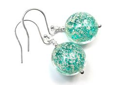 Murano Glass Lentil Earrings - Verde and White Gold Murano Glass Beads, Gold Foil, Sterling Silver Jewelry, Crochet Earrings, White Gold