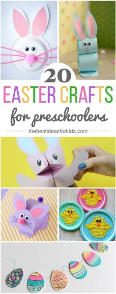20 fun and simple Easter crafts for kids and preschoolers! So many cute bunny craft ideas! Easter crafts | Easter crafts for kids | Easter crafts for preschoolers | bunny crafts | bunny paper plates | easter string art | bunny paper craft | bunny cootie catcher | easter egg garland via @bestideaskids #simpleartsandcrafts #funartsandcrafts #craftpreschool