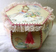 Crochet Card Box with Lace Trim Girls and by HobartCollectables