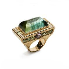 Bi-Color Tourmaline, Demantoid Garnet, Purple Spinel and Diamond Ring ♥≻★≺♥