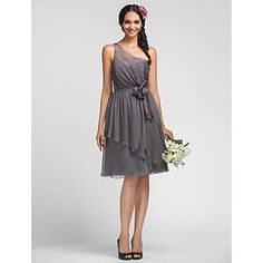 With a bright tie around sash to match grooms men's bow ties? A-line One Shoulder Knee-length Chiffon Grace Bridesmaid Dress – USD $ 129.99