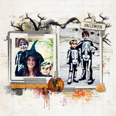 such a great Halloween scrapbook page from Christina at DesignerDigitals!