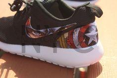 Nike Roshe Run Black White Marvel Avengers Captain by NYCustoms