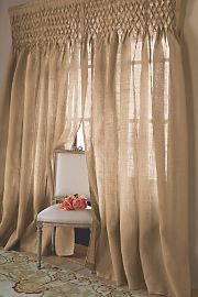 Drapery.  Love this.  I am obsessed with burlap.
