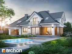 gotowy projekt Dom w śliwach Beautiful House Plans, Beautiful Homes, Architectural Design House Plans, Architecture Design, House Designs In Kenya, Kerala Houses, Attic Design, House Design Photos, Mansions Homes