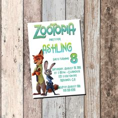 Zootopia Personalized Birthday Invitation 1 Sided Card Party From SCG Designs
