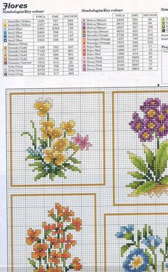Cross-stitch Flowers, part 3..  color chart on part 3 & 4...    Gallery.ru / Фото #2 - цветы - irisha-ira