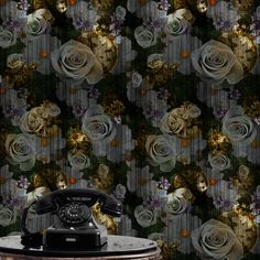 mbient Rose n Watch Wallpaper (bright flower).  Classical themed wallpaper displaying the English rose and vintage watch in repeat pattern on dark textured background. This wallpaper is part of the All Things British 2 Range.