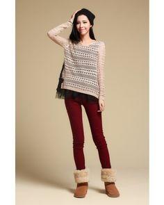 Khaki Long Sleeve Round Neck Hollow Lace Sweater Indressme$43.80