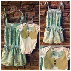 Little girl romper (tutorial by makeit-loveit.com) and matching baby brother applique