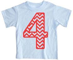 Number 4 Chevron Birthday shirt  4th boys fourth by happyfamily, $16.00