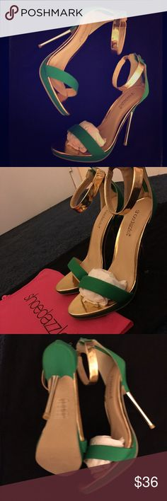 ✨Green& Gold Strap Heels✨ Brand new - from Shoedazzle. Size 8.5 - box is included (if you want it it's a little torn) I do have a little dust bag for these also. Open to reasonable offers. Shoe Dazzle Shoes Heels
