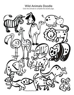 Wild Animals Doodle - print on sticker paper & kids can color it in