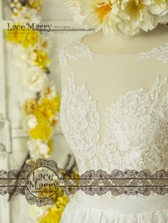 Illusion Neckline with Lacy Appliques on Shoulders in combined with Deep V Cut Back From Sheer Lace with Scalloped Eyelash Edge. Bohemian Beach Wedding, Bohemian Look, Lace Wedding, Boho, Illusion Neckline, French Lace, Wedding Dress Styles, Lace Applique, Tulle