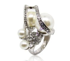 Office Style pearl golden ring with Temperament for wedding & Engagement