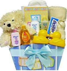 $39.99-$39.99 Baby It's A BOY! New Baby Gift Basket with Teddy Bear - Get Mom, Dad and the precious baby off to a great start with all the useful baby necessities tucked inside this affordable baby boy gift box, it will surely come in handy in the months to come! Discover all the treasures inside from a soft plush teddy bear just for baby, pretty picture frame, tri-pack of diapers (so handy!), J ...