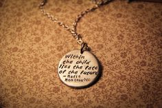 """Maria Montessori: """"Within the child lies the fate of the future"""" hand stamped pendant"""