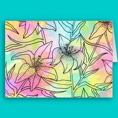 Lily Pattern watercolor Card