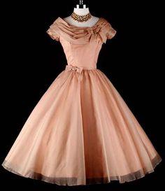 1950's Peach Party Dress