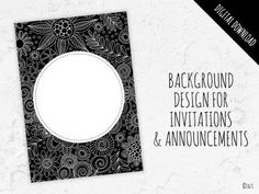 B&W Doodle Circle Background Graphic