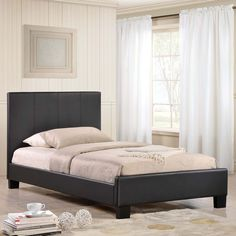 MOD-5198-BLK-SET_10.jpg, Black - Alex's contemporary platform style strikingly recreates your bedroom space. The detailed vertical headboard stitching, complements the padded faux leather construction, to radiate a sense of elegance that capitalizes on the juxtaposition of diverse design elements. The Alex Twin Platform Bed features a sprung slatted base to provide for a comfortable sleep without the need for a box spring. Mattress and linens not included. The bed frame is constructed of…