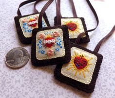 RESERVED Embroidered Brown Scapular: Sacred Heart of Jesus and Immaculate Heart of Mary With Roses and Forget Me Nots