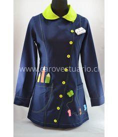 Delantal azul francia con limón botón cruzado - AZBCLIML (). Talla   Busto   Cintura   Cadera   Manga corta   Manga Larga   Largo           40   90   80   98   20   57-59   80       4
