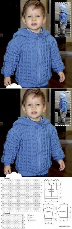 Кофта С Капюшоном Для Мальчика. Baby Knitting Patterns, Baby Sweater Patterns, Baby Cardigan Knitting Pattern, Knitting For Kids, Crochet For Kids, Baby Patterns, Knit Baby Pants, Baby Boy Cardigan, Crochet Baby Beanie