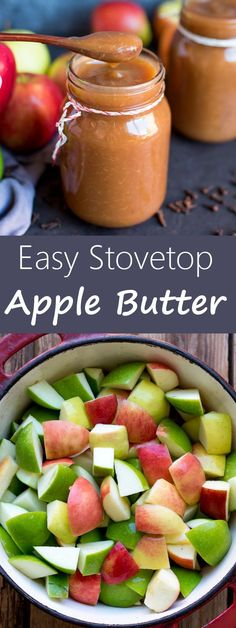 Easy Stovetop Apple Butter is a simple throw-it-all-in spiced apple butter - no peeling required recipe. Ready in less than 3 hours.You'll want to top everything with it! Jam Recipes, Canning Recipes, Apple Recipes, Dessert Recipes, Recipies, Canning 101, Bread Recipes, Fruit Dips, Brunch