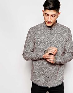 Image 1 ofPretty Green Shirt with Floral Print