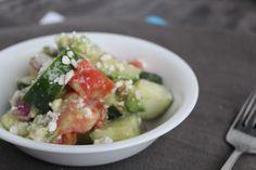Greek Cucumber Summer Salad #tomato #feta #cheese #fresh #onion #avocado #health #healthy #vegetable #veggie #garden #fitfam #tiu #recipe #recipes #food