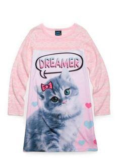 Jellifish Kids Cat Character Sleep Shirt Girls 4-16 - Baby Pink Cat - Xs