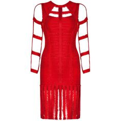 Honey couture ria red long sleeve tassel bandage dress ($200) ❤ liked on Polyvore featuring dresses, gowns, sexy red dress, red evening dresses, long-sleeve maxi dress, sexy evening dresses and long sleeve evening dresses