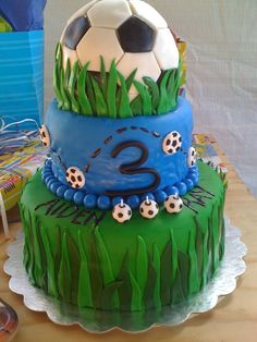 Soccer Cake with blue bubble gum Cake Icing, Fondant Cakes, Eat Cake, Cupcake Cakes, Cupcakes, Sport Cakes, Soccer Cakes, Football Cakes, Rocket Cake
