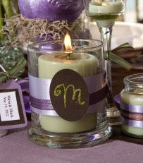 DIY Monogramed candles holders - card stock, contrasting ribbons, candles, candle holders.