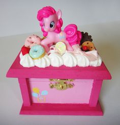 Wooden trinket/ jewelry box with clay pastries and miniature my little pony pinkie pie figurine.. $45.00, via Etsy.