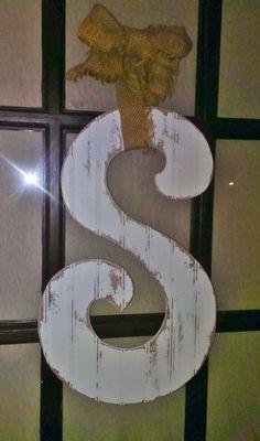Large Shabby Initial Door Hanger on Etsy, $40.00