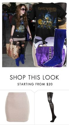 """""""out and about in hollywood."""" by valerieking ❤ liked on Polyvore featuring Miss Selfridge, Jane Norman, Gucci, Marc Jacobs, fringe boots, fringe, metallics, mini skirts, graphic tees and ripped tights"""