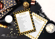 Gold White and Grey Bridal Shower Game Templates by CupidCards