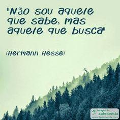 """""""Não sou aquele que sabe, mas aquele que busca."""" (Hermann Hesse)"""
