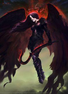 Vishera, Holy Avenger by Bryan Fogaça Rosado Fantasy Girl, Dark Fantasy Art, Fantasy Artwork, Dark Gothic Art, Ange Demon, Demon Art, Character Inspiration, Character Art, Beautiful Dark Art