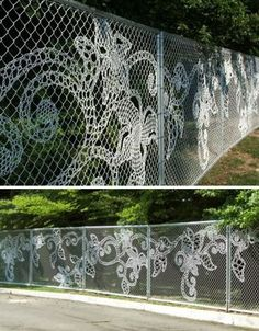 Turn a boring chain link fence into a work of art.  Artist Katie Daniels did this installation by 'embroidering' in NYC last year. She used plastic fence weave, spools, lids and cable ties. Have to figure this out on my long fence that backs up to school.
