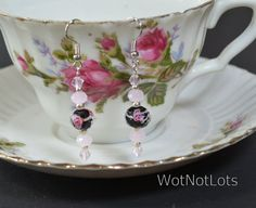 Black With Pink Rose Dangle Earrings by WotNotLots on Etsy, $10.00