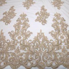 Tecido tule bordado warm taupe - Maximus Tecidos | Loja Online