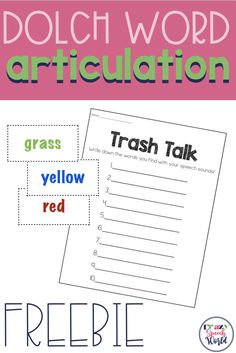 Dolch word articulation game for speech therapy